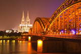The River Rhine and Cologne Cathedral at Night, Cologne, North Rhine-Westphalia, Germany, Europe Photographic Print by Julian Elliott