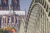 Cologne Cathedral (Dom) and Bridge across the River Rhine Photographic Print by Julian Elliott