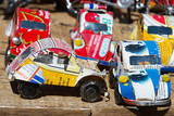 Toy Cars Made with Metal Food Box and Sold on the National 7 Road, Madagascar, Africa Photographic Print by Bruno Morandi