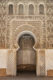 Traditional Decorative Plaster Carving in the Ben Youssef Medersa Photographic Print by Martin Child