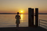 Woman Enjoying the Sunset, Unteruhldingen, Lake Constance, Baden Wurttemberg, Germany, Europe Photographic Print by Markus Lange