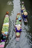 Vendors Paddle their Boats, Damnoen Saduak Floating Market, Thailand Photographic Print by Andrew Taylor