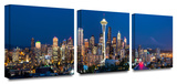Seattle Nighttime 3-Piece Canvas Set Gallery Wrapped Canvas Set by Cody York