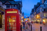 East Gate and Telephone Box at Christmas, Chester, Cheshire, England, United Kingdom, Europe Fotodruck von Frank Fell