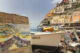 Water Colour Painting of Traditional Fishing Boats and the Colourful Town of Positano Photographic Print by Martin Child