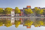 Houses and Shops Reflecting in a Pond, Cologne, North Rhine-Westphalia, Germany, Europe Photographic Print by Julian Elliott