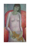 Woman with Cat, 2014 Giclee Print by Ruth Addinall