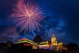 Fireworks Celebrating Chinese New Year, Kek Lok Si Temple, Penang, Malaysia, Southeast Asia, Asia Photographic Print by Andrew Taylor