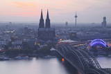 The City of Cologne and River Rhine at Dusk, North Rhine-Westphalia, Germany, Europe Photographic Print by Julian Elliott