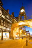 East Gate Clock at Christmas, Chester, Cheshire, England, United Kingdom, Europe Fotodruck von Frank Fell