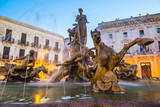 Fountain of Artemis in Archimedes Square (Piazza Archimede) at Night Photographic Print by Matthew Williams-Ellis