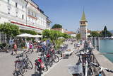 Bicycles at the Promenade with the Mangturm Tower, Lindau, Lake Constance, Bavaria, Germany, Europe Photographic Print by Markus Lange