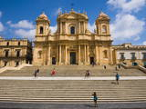 Tourists at Duomo (Noto Cathedral) (St. Nicholas Cathedral) Photographic Print by Matthew Williams-Ellis