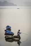 A Man Fishing on Phewa Tal (Phewa Lake), Pokhara, Nepal, Asia Photographic Print by Andrew Taylor