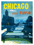 Chicago - Fly TWA Trans World Airlines - Bridges over the Chicago River Prints by Austin Briggs