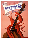 Davos, Switzerland - Grand Hotel & Casino Belvédère - Lobster Musician playing a Cello Plakater af Charles Kuhn