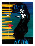Tahiti - Fly Teal (Tasman Empire Airways Limited) Giclee Print by Arthur Thompson