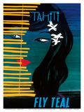 Tahiti - Fly Teal (Tasman Empire Airways Limited) Affiches par Arthur Thompson