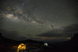 The Milky Way Above Camp with Illuminated Tents on Top of Weiassipu Tepui Photographic Print by Joe Riis