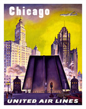 Chicago - United Air Lines - The Tribune Tower, Wrigley Building, and Michigan Avenue Bridge Giclée-Druck