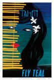 Tahiti - Fly Teal (Tasman Empire Airways Limited) Poster von Arthur Thompson