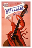 Davos, Switzerland - Grand Hotel & Casino Belvédère - Lobster Musician playing a Cello Poster van Charles Kuhn