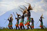 A Tribal Dance Group with a Panoramic View Photographic Print by Jim Richardson