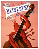 Davos, Switzerland - Grand Hotel & Casino Belvédère - Lobster Musician playing a Cello Giclee Print by Charles Kuhn