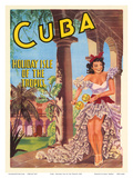 Cuba - Holiday Isle of the Tropics - Cuban Dancer with Maracas - Art Print