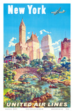 New York - United Air Lines - Gapstow Bridge at Central Park South Pond, Manhattan Prints by Joseph Feher