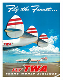 "Fly the Finest - Fly TWA (Trans World Airlines) - Super Lockheed Constellation (""Connie"") Giclee Print by Frank Soltesz"