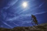 A Mountain Biker on Slickrock Trail Near Moab, Utah Fotografisk tryk af David Hiser