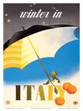 Winter in Italy - Italian Tarocco Blood Oranges under an Umbrella Art by Alfredo Lalia