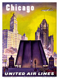 Chicago - United Air Lines - The Tribune Tower, Wrigley Building, and Michigan Avenue Bridge Kunstdrucke