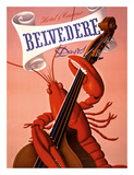 Davos, Switzerland - Grand Hotel & Casino Belvédère - Lobster Musician playing a Cello Giclée-tryk af Charles Kuhn
