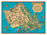 Hawaiian Island of Oahu Map Prints by Ruth Taylor White
