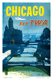 Chicago - Fly TWA Trans World Airlines - Bridges over the Chicago River Poster av Austin Briggs