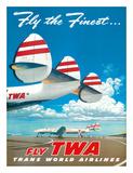 """Fly the Finest - Fly TWA (Trans World Airlines) - Super Lockheed Constellation (""""Connie"""") Giclée-Druck von Frank Soltesz"""