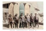 Hawaiian Duke Kahanamoku and his Brothers with Surfboards at Waikiki Beach, Hawaii Prints by Tai Sing Loo