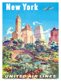 New York - United Air Lines - Gapstow Bridge at Central Park South Pond, Manhattan Poster by Joseph Feher