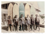 Hawaiian Duke Kahanamoku and his Brothers with Surfboards at Waikiki Beach, Hawaii Prints by Tai Sing Loo