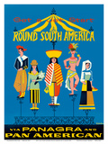 Get a Jet Start Round South America via Panagra and Pan American Art by P. Jalier