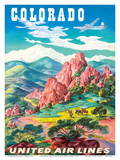 Colorado - United Air Lines - Garden of the Gods, Colorado Springs Prints by Joseph Feher