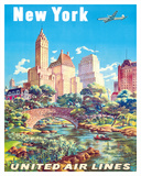 New York - United Air Lines - Gapstow Bridge at Central Park South Pond, Manhattan Giclee Print by Joseph Feher