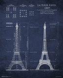 Eiffel Tower Blueprint Poster