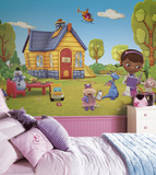 Doc McStuffins Chair Rail Prepasted Mural Wallpaper Mural