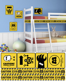 Monsters Inc - Caution Signs Peel and Stick Giant Wall Decals Wall Decal