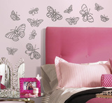 Glitter Butterflies Peel and Stick Wall Decals Wall Decal