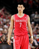 2014 NBA Playoffs Game 6: May 2, Houston Rockets vs Portland Trail Blazers - Jeremy Lin Photographic Print by Cameron Browne