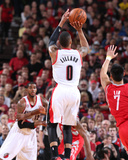 2014 NBA Playoffs Game 6: May 2, Houston Rockets vs Portland Trail Blazers - Damian Lillard Photographic Print by Sam Forencich